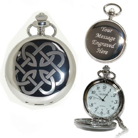 Celtic Father Daughter Knot Pocket Watch Arabic Numerals